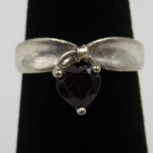 Jewelry - Vintage Size 5 Sterling Rustic Heart Garnet Ring